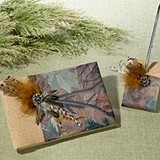 Lillian Rose Burlap and Camouflage Guest Book & Pen Set