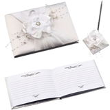 Lillian Rose Off-White Satin Handmade Flower Guest Book and Pen Set