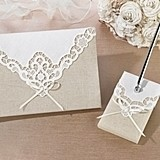 Lillian Rose Country Lace Collection Guest Book and Pen Set