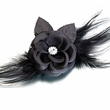 Lillian Rose Black Flower and Feather Hair Clip/Decoration