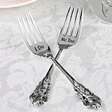 Lillian Rose I Do and Me Too Silver-Plated Forks by Lillian Rose