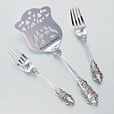 Lillian Rose Heart Monogram Silver-Plated Cake Server and Forks Set