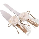 Lillian Rose Burlap Cake Knife & Server Set (Set of 2)