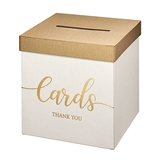 Lillian Rose Ivory-Colored Wedding Gift Card & Money Box with Gold Lid