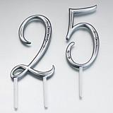 Silver-Finish Decorative Numbers with Rhinestones Cake Picks