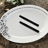 Lillian Rose Oval Ceramic Guest Signing Plate with 2 Pens