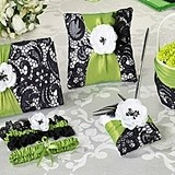 Lillian Rose Green and Black Collection Wedding Accessories Set