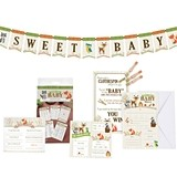 Lillian Rose Woodland Motif Baby Shower 76-Piece Party Set with Games