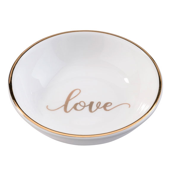 Lillian Rose Glazed Porcelain Script Love Ring Dish with Gold Foil Rim