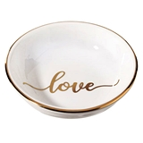 "Lillian Rose Gold Foil Script ""love"" Motif Ceramic Ring Dish"