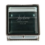 Script Name Vintage-Inspired Square Silver and Glass Ring Box