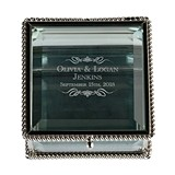 Scrolls with Name Vintage-Inspired Square Silver & Glass Ring Box