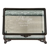 Script Name Vintage-Inspired Rectangular Bronze and Glass Ring Box