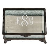 Scroll Monogram Vintage-Inspired Rectangular Bronze and Glass Ring Box