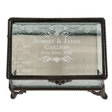 Scrolls with Name Vintage-Inspired Rectangular Bronze & Glass Ring Box