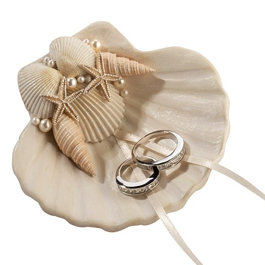 Lillian Rose Seashell Ring Holder with Smaller Shells and Faux Pearls