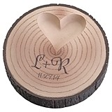 Lillian Rose Monogrammed Tree-Trunk Ring Holder with Raised Heart