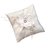 Lillian Rose Elegant Off-White Satin with Handmade Flower Ring Pillow
