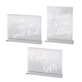 Lillian Rose Clear Acrylic Wedding Reception Signs (Set of 3)