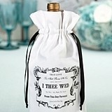 "Lillian Rose ""I Thee Wed"" Design White Canvas Wine Bag"