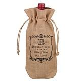 Lillian Rose Personalized Vineyard Motif Burlap Wine Bag