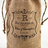 Lillian Rose Personalized Vineyard Motif Burlap Wine Bag