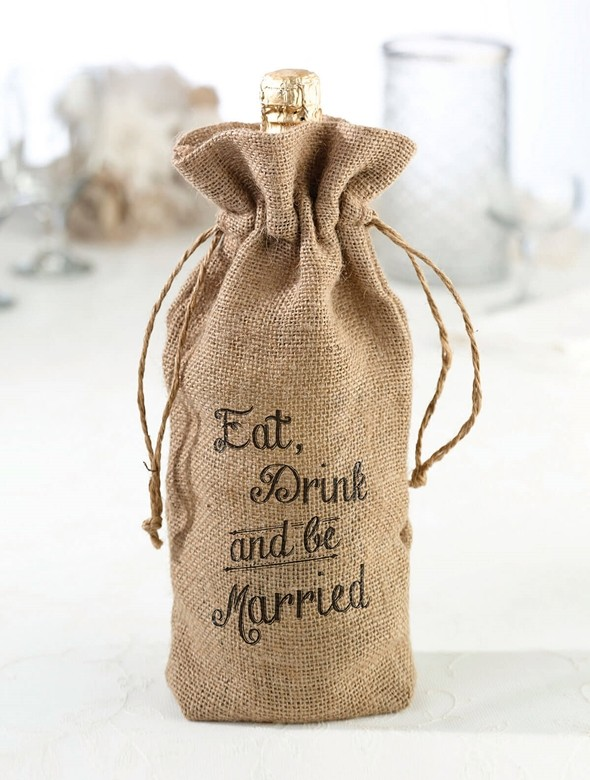 Eat Drink And Be Married Burlap Wine