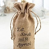 Lillian Rose Eat, Drink and Be Married Burlap Wine Bag
