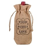 "Lillian Rose ""Food Family & Love"" Burlap Wine Bag"