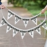 "Lillian Rose Black and White Bunting ""Just Married"" Banner"
