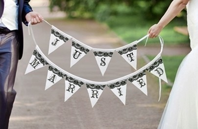 """Lillian Rose Black and White Bunting """"Just Married"""" Banner"""