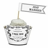 """Just Married"" Pennant-Shaped Cupcake Picks (Set of 12)"