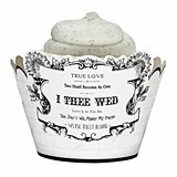 """I Thee Wed"" Design Cupcake Wraps (Set of 12)"