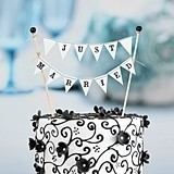 "Black and White Bunting ""Just Married"" Cake Topper"