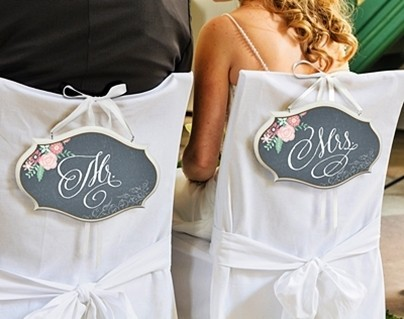 """Chalkboard & Floral """"Mr. & Mrs."""" Chair Signs (Set of 2)"""