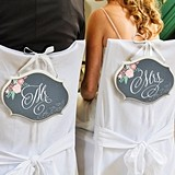 "Chalkboard & Floral ""Mr. & Mrs."" Chair Signs (Set of 2)"