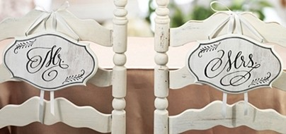 """Vintage-White-Wash-Style """"Mr. & Mrs."""" Chair Signs (Set of 2)"""