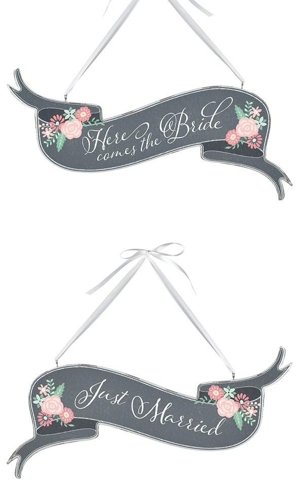 Chalkboard & Floral Motif 'Here Comes the Bride'/'Just Married' Banner