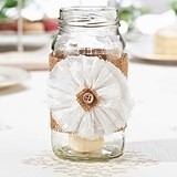Rustic Burlap Glass Wraps/Bands with Buttoned Faux-Flower (Set of 4)