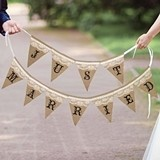 Just Married Burlap and Lace Banner by Lillian Rose