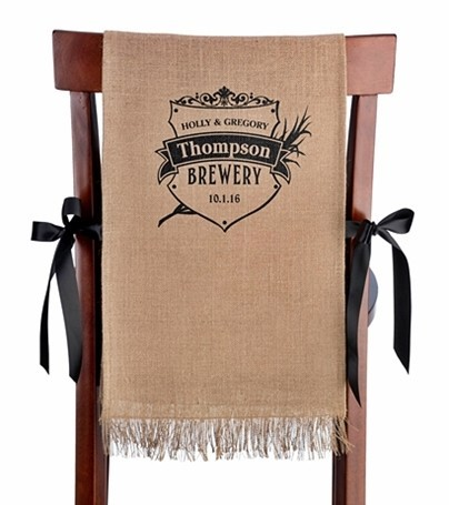 Lillian Rose Personalized Crest Design Burlap Chair Covers (Set of 2)