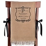 Personalized Vineyard Motif Burlap Chair Covers (Set of 2)