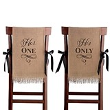 "Lillian Rose ""Her One; His Only"" Burlap Chair Covers"
