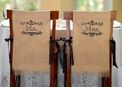 Lillian Rose Mr. and Mrs. Burlap Chair Covers (Set of 2)