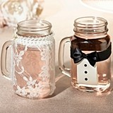 Bride and Groom Mason Jar Drinking Glass Covers (Set of 2)