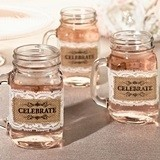 Burlap 'Celebrate' Motif Mason Jar Drinking Glass Covers (Set of 6)