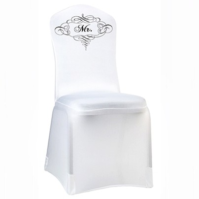 Stretchable White Mr. Chair Cover by Lillian Rose