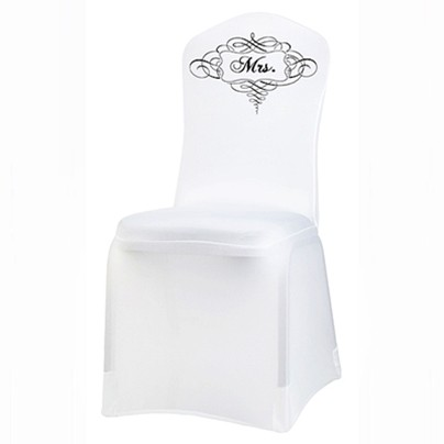 Stretchable White Mrs. Chair Cover by Lillian Rose