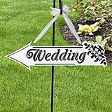 White Wooden Wedding Arrow Sign by Lillian Rose
