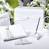 Lillian Rose White Sash Wedding Accessories Set in a Card Box